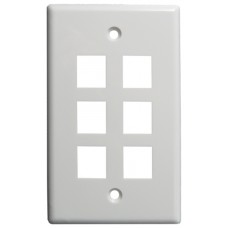 6 Port Keystone Wall Plate Flush (UL)