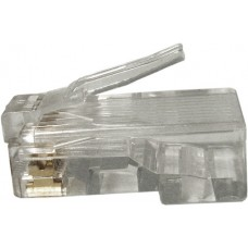 Cat6 RJ45 Plug For Solid/Stran Cable W/Load Bar 3 Prong 50U RoHS